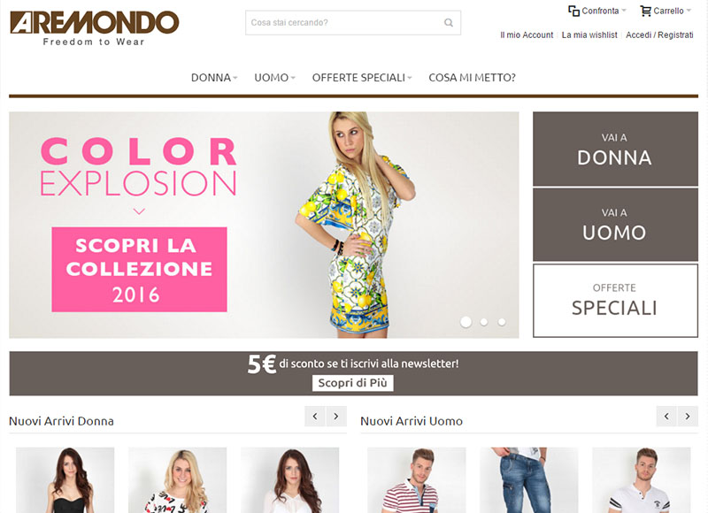 Sito e-commerce: Aremondo